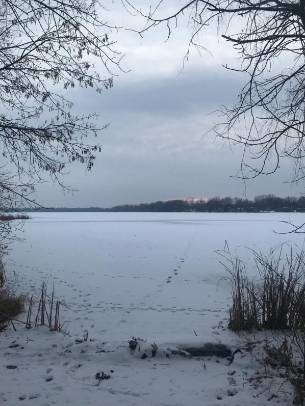 Frozen winter lake view