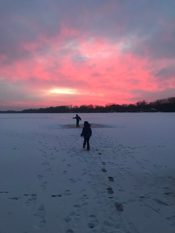 How to move forward in a new home after a death of a loved one, life lessons after a death, moving forward as a family after a death, Minnesota winter lake, lake sunset winter photo