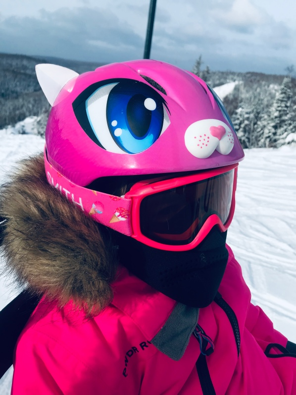 Hello Kitty, kitty ski helmet, skiing with kids, wear your helmet, ski holiday, ski trip, pink ski girl, ski like a girl