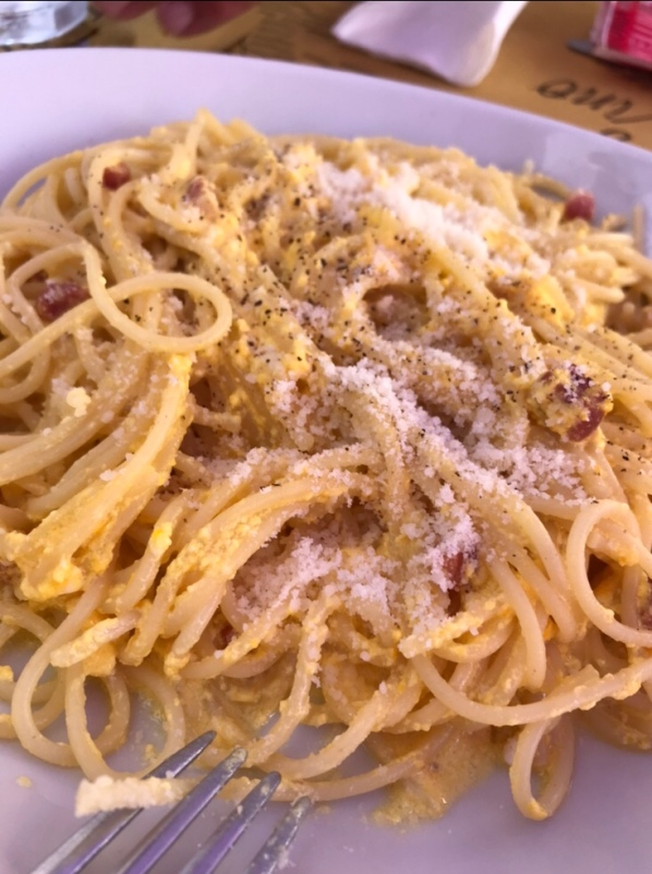 Spaghetti carbonara, Italian Rivera, Italian Good, real Italy, Italian recipes, authentic Italian