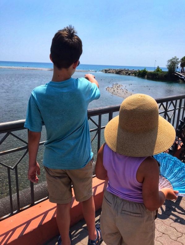 Italian Mediterranean, Italian Rivera, kids at Mediterranean Sea, Italian city, Italian village, Italy